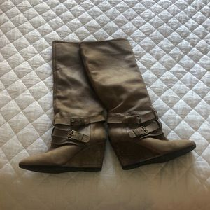 Shoes - Leather Wedge Boots